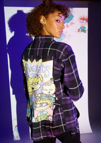 purple plaid rugrats graphic flannel - Main Image
