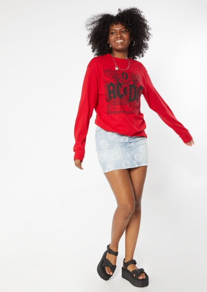 red acdc black ice graphic long sleeve tee - Main Image