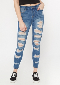 medium wash distressed roll up ankle jeggings - Main Image