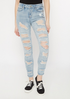 light wash distressed roll up ankle jeggings - Main Image