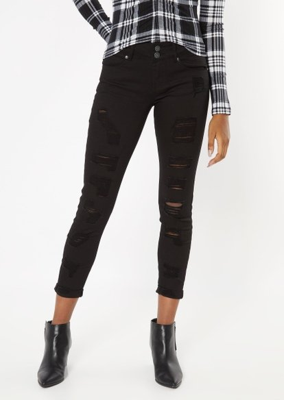 black mid rise ripped rolled cuff skinny jeans - Main Image