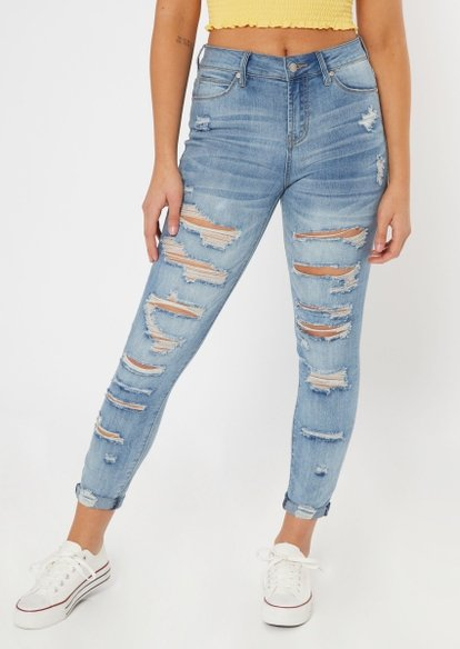 medium wash ripped cuffed recycled jeggings - Main Image
