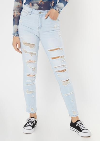 light wash ripped recycled jeggings - Main Image