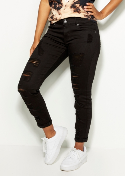 black ripped rolled cuff skinny jeans - Main Image