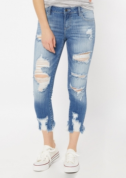 medium wash ripped cropped skinny jeans - Main Image