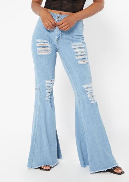medium wash super high rise shredded mega flare jeans - Main Image