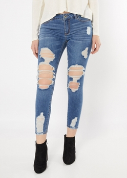 ultimate stretch medium wash ripped ankle jeggings - Main Image