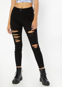 black high rise ripped curvy ankle jeggings - Main Image