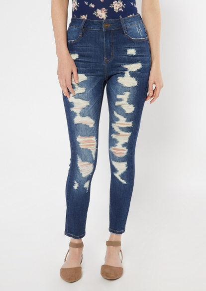 dark wash ultimate stretch ripped skinny ankle jeans - Main Image
