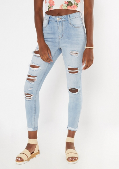 ultimate stretch light wash high waisted double cuff jeggings - Main Image
