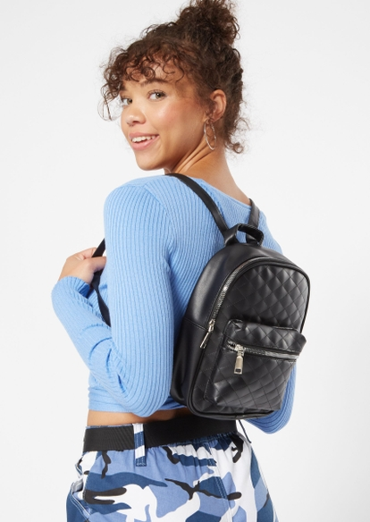 black quilted backpack - Main Image