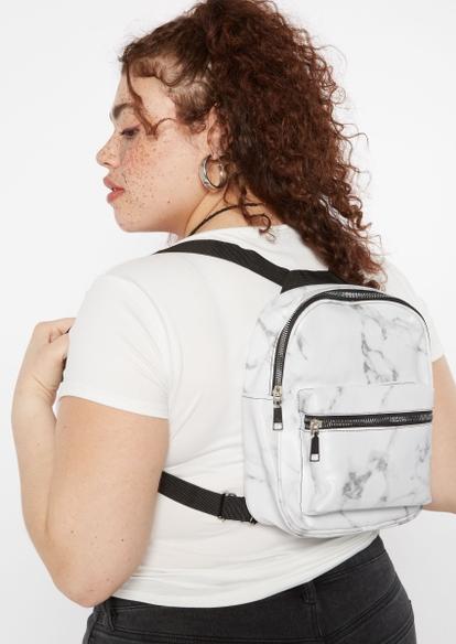 white marble print mini backpack - Main Image