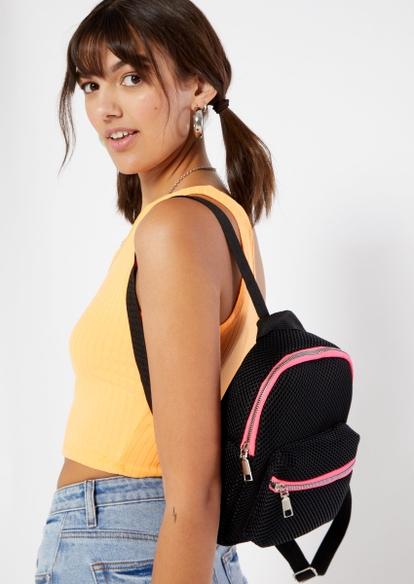 black mesh overlay pink contrast zip mini backpack - Main Image