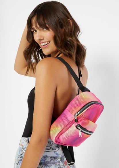 pink tie dye mesh overlay mini backpack - Main Image