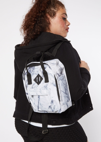 white marble print backpack - Main Image