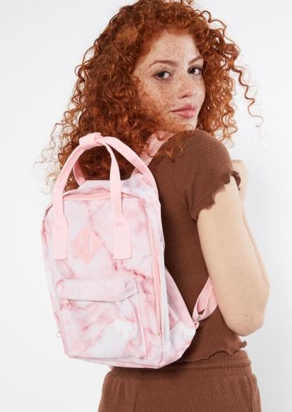 pink marble print backpack - Main Image