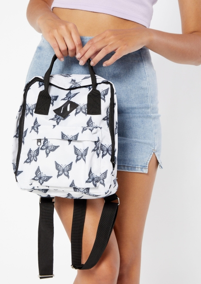 white butterfly print backpack - Main Image