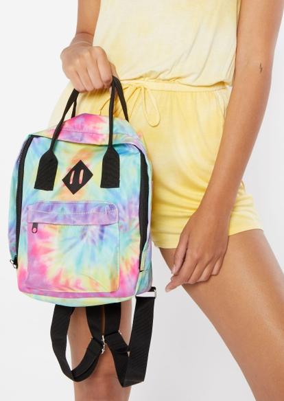 rainbow tie dye print backpack - Main Image