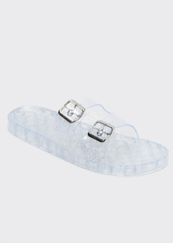 clear glitter double buckle jelly sandals - Main Image