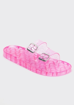 pink glitter double buckle jelly sandals - Main Image