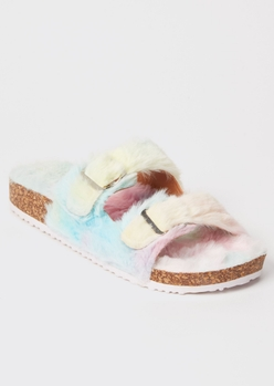 pastel tie dye faux fur double buckle slippers - Main Image