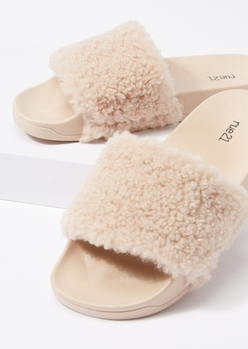 taupe fluffy strap slide sandals - Main Image