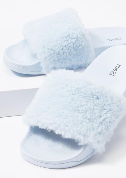 blue fluffy strap slide sandals - Main Image