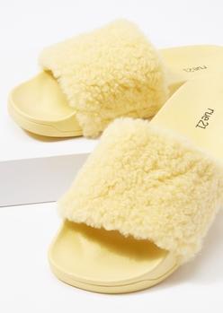 yellow fluffy strap slide sandals - Main Image