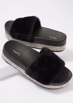 black rhinestone platform faux fur strap sandals - Main Image