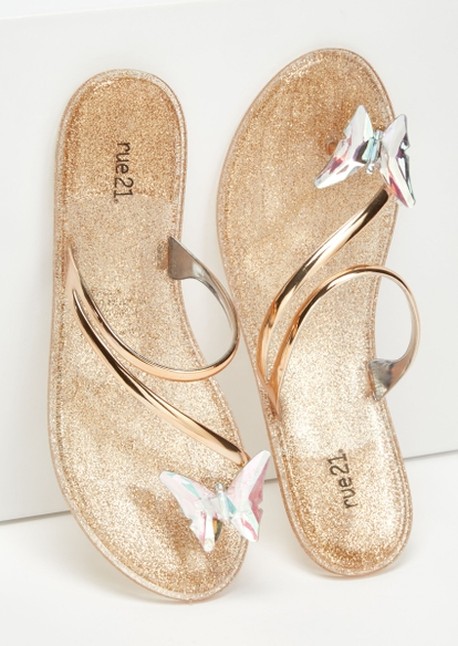 gold glittery metallic butterfly strap flat sandals - Main Image