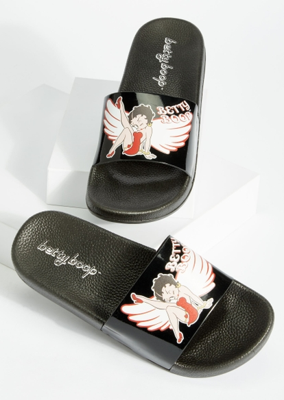 black angel betty boop slide sandals - Main Image