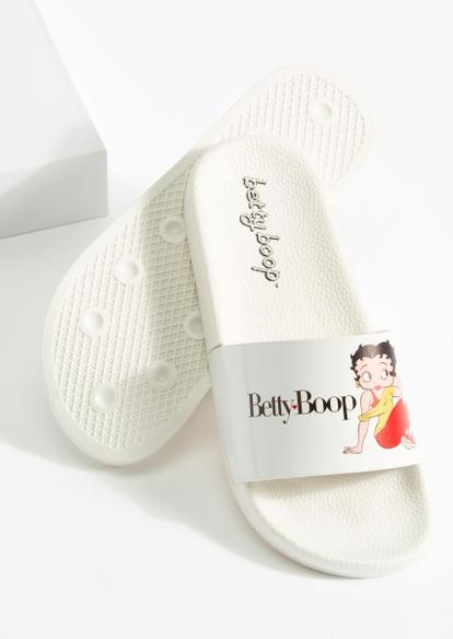 white classic betty boop slide sandals - Main Image