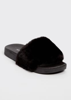 black fluffy strap slide sandals - Main Image