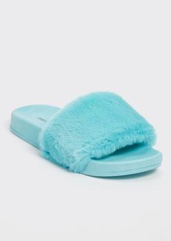 aqua fluffy strap slide sandals - Main Image