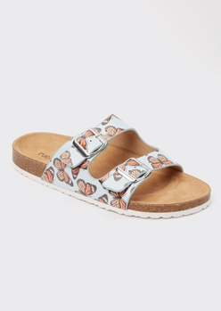 blue butterfly double buckle strap sandals - Main Image