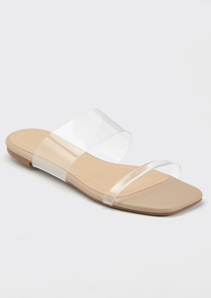 clear strap square toe sandals - Main Image