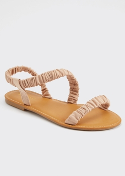 tan ruched sandals - Main Image