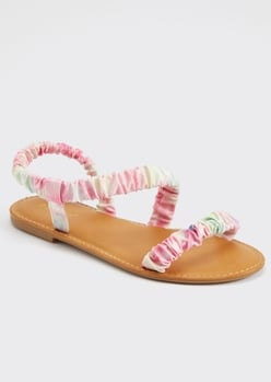 pink tie dye ruched sandals - Main Image