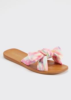 pink tie dye bow slide sandal - Main Image