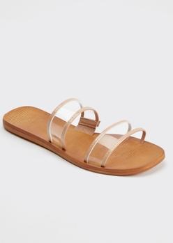 cognac clear double strap slide sandals - Main Image