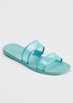 blue clear double strap slide sandals - Main Image