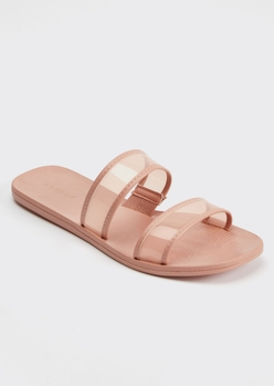 pink clear double strap slide sandals - Main Image