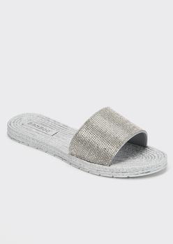 silver glitter rhinestone slide sandals - Main Image