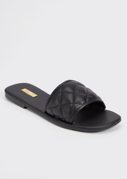 black faux leather quilted slide sandals - Main Image
