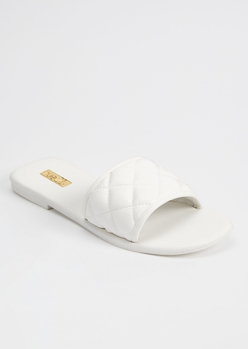 white faux leather quilted slide sandals - Main Image