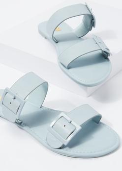 blue monochrome buckle slide sandals - Main Image