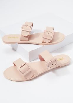 pink monochrome buckle slide sandals - Main Image