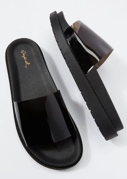 black clear strap slide sandals - Main Image