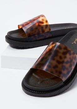 tortoiseshell clear strap slide sandals - Main Image