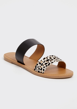 cheetah print double strap sandals - Main Image